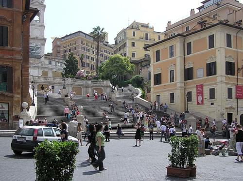 Piazza di spagna, spanish square, Fontana della Barcaccia, Fountain of the Old Boat, Colonna dell'Immacolata Concezione, Column of the Immaculate Conception, Palazzo di Propaganda Fide, Palace of the Propagation of the Faith
