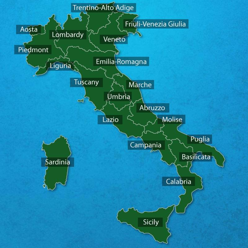 Italys regions regional map of italy regions of Italy italian
